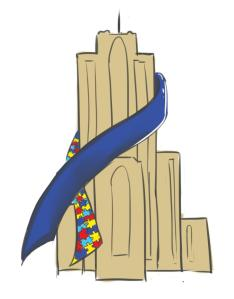 Illustration of the Cathedral of Learning wrapped in a blue and puzzle-piece awareness ribbon.