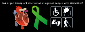Header image that shows a heart, a green ribbon, and a symbol showing a wheelchair user, a brain, the ASL sign for interpreter, and a blind person using a probe cane