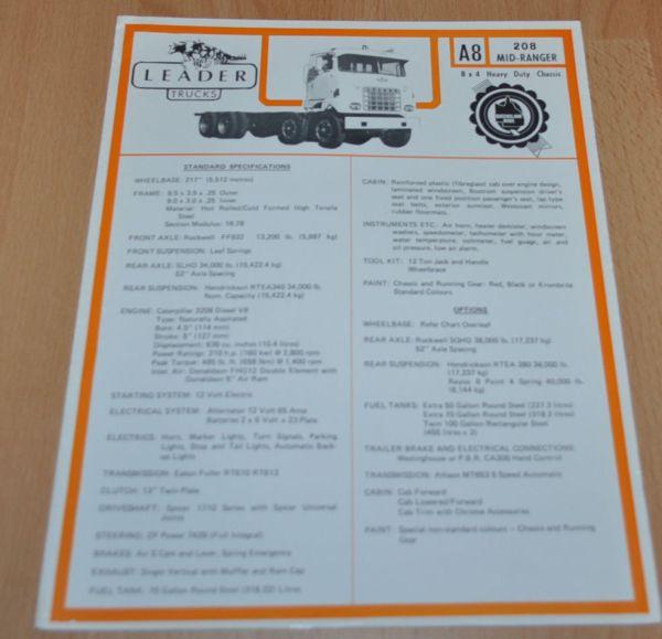 Leader A8 Mid-ranger Truck Specifications Brochure