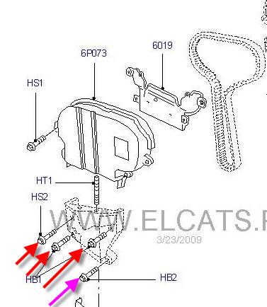 Замена ремня грм на двигателе zetec 0 (2001 Ford Escape)