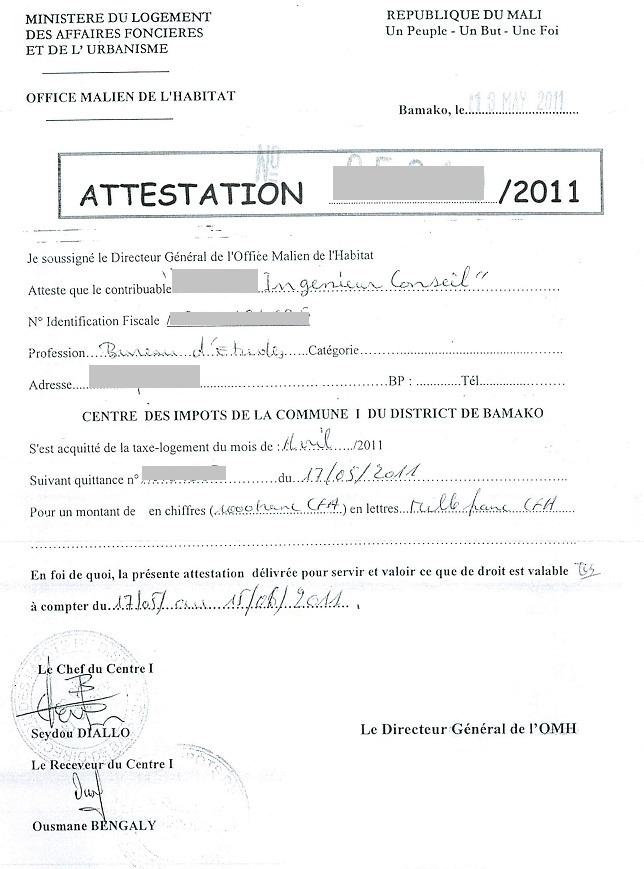 certificat de conformite