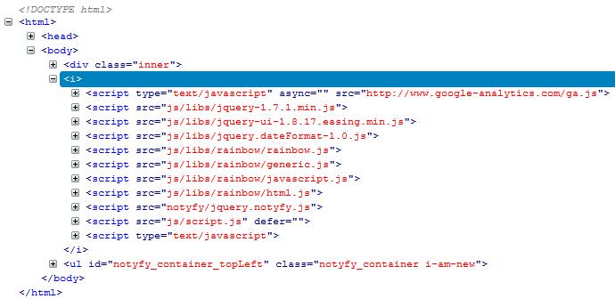 script in html