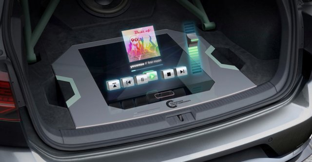 The compact hologram module, featuring floating controls that can be used to operate the high-end sound system, was developed by Group Components and installed in the luggage compartment.