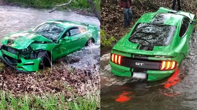 Ford-Mustang-nehoda-do-potoka-Kanada