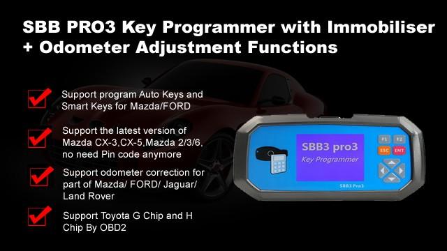 2019 Latest Version SBB Key Programmer SBB3 PRO3 Key Mater with Immobiliser + Odometer Adjustment Functions