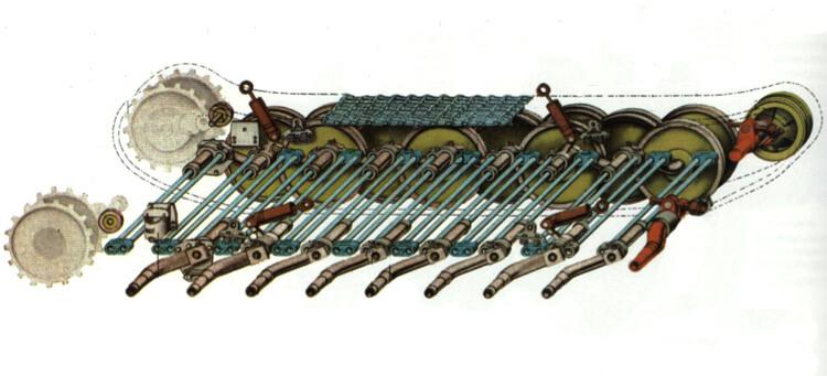 Схема торсионной подвески танка