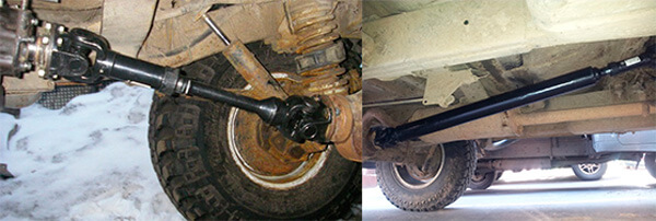 Расположение карданов на автомобилях