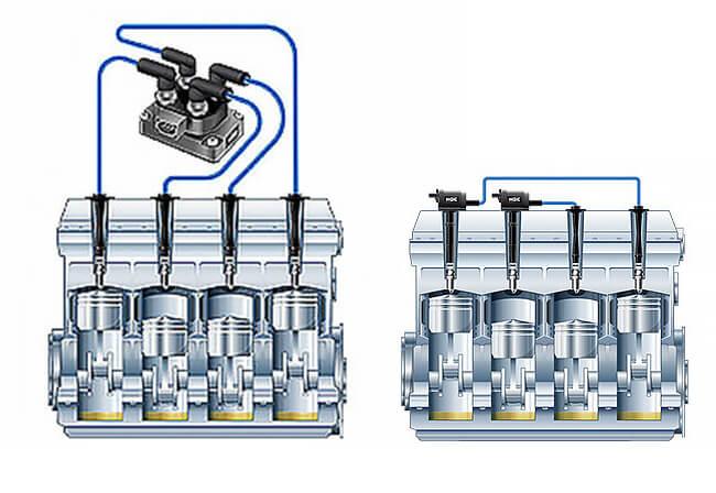Варианты схем подключения двух выводных катушек
