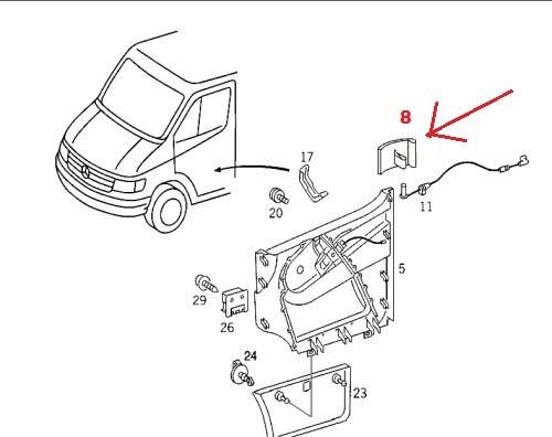 Klamka wewnętrzna LEWA drzwi przednich kabiny Mercedes