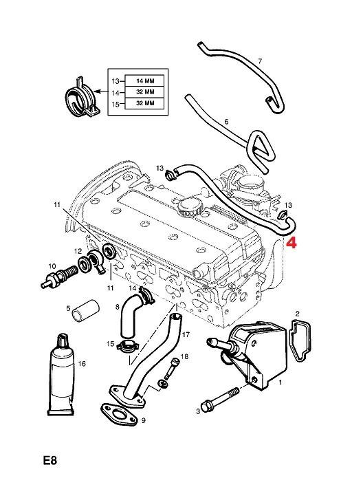 Przewód ODMA,odpowietrzenie pokrywy rozrządu silnika Opel