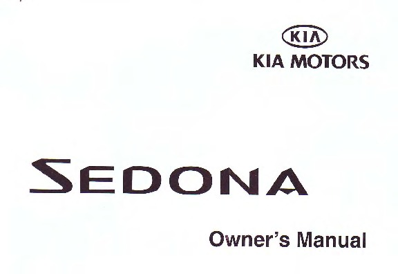 2002 Kia Sedona Owners Manual