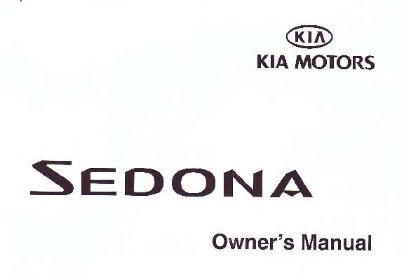 2002 Kia Sedona Owners Manual