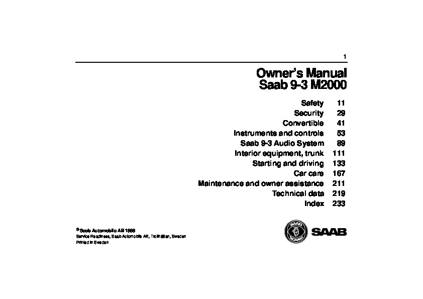 2000 Saab 9-3 Owners Manual