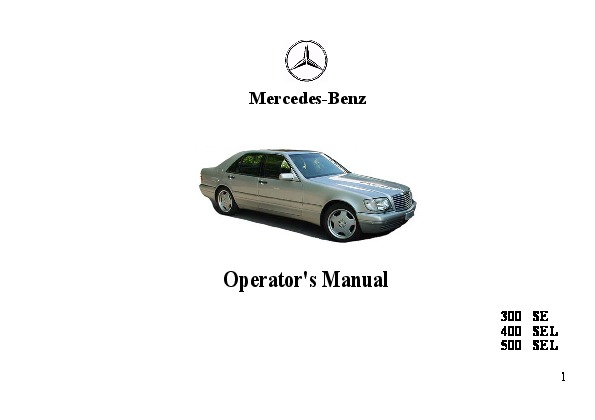 1993 Mercedes-Benz 300SE 400SEL 500SEL W140 Owners Manual