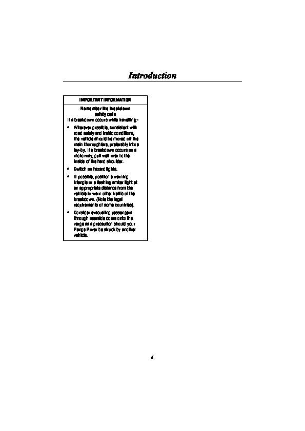 2000 Land Rover Range Rover Handbook Manual Australia