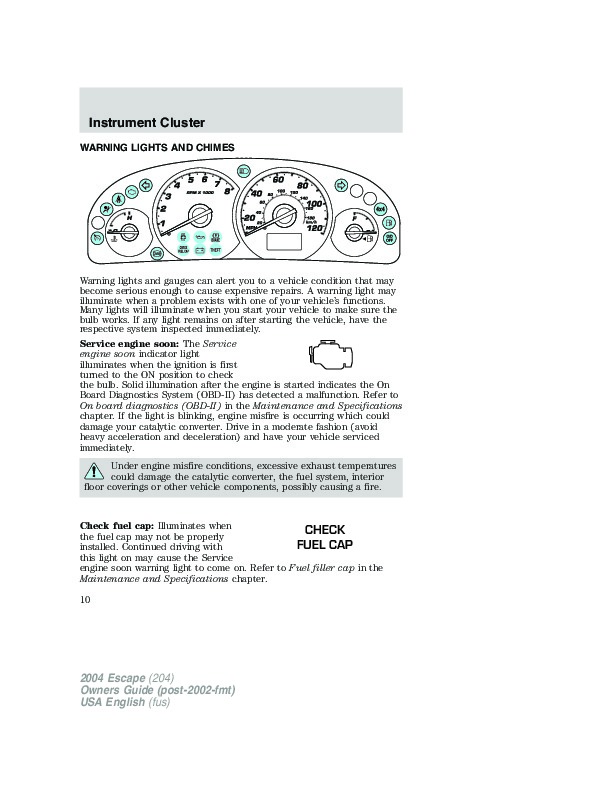 2004 Ford Escape Owners Manual