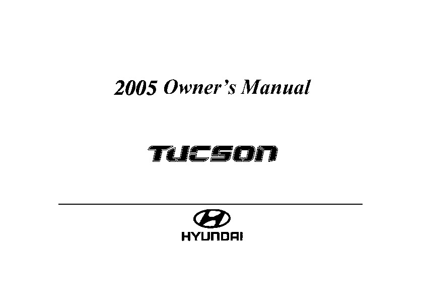 2005 Hyundai Tucson Owners Manual