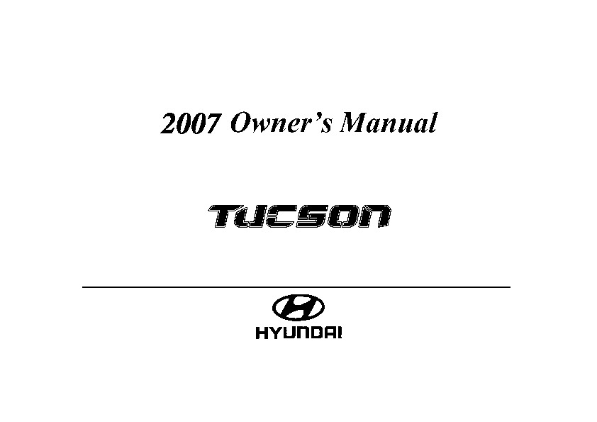 2007 Hyundai Tucson Owners Manual