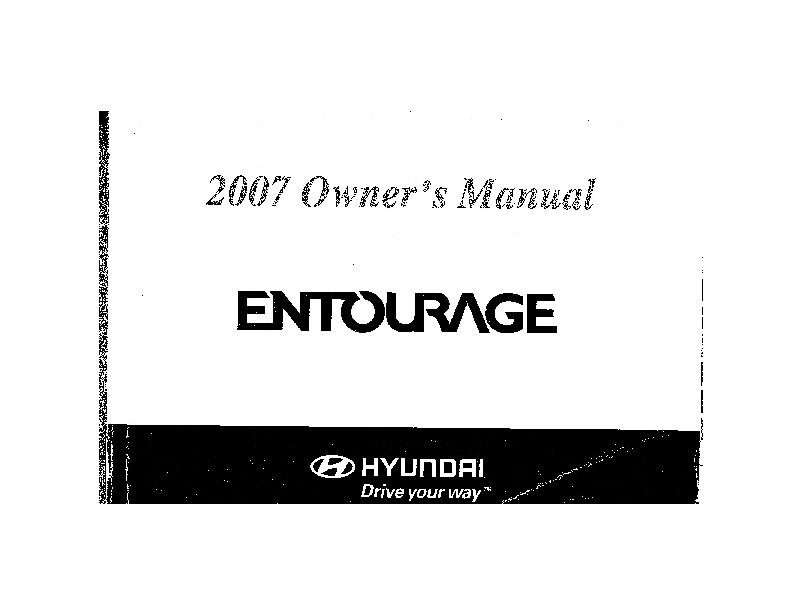 2007 Hyundai Entourage Owners Manual