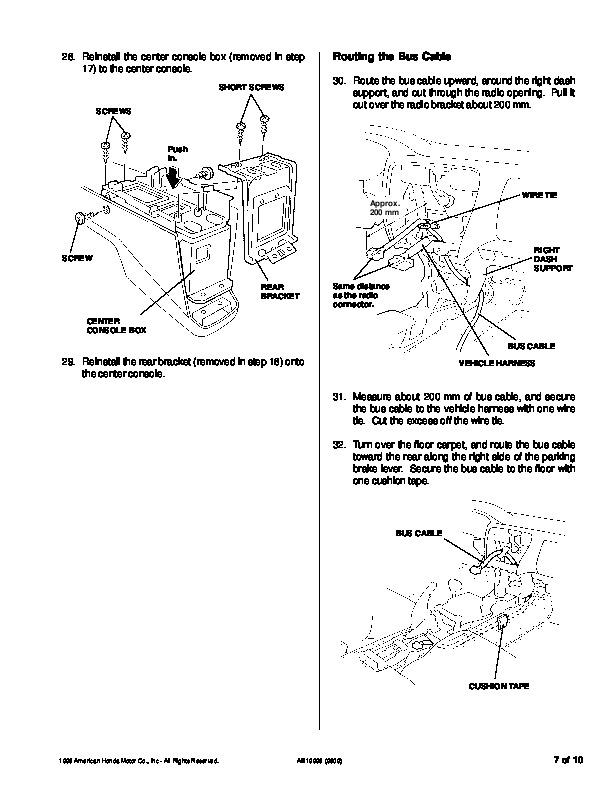 1999 Honda Accord CD Changer Console Mount Kit 08B11-S84