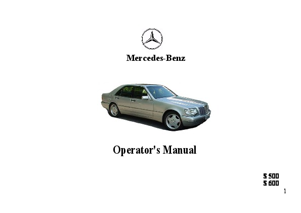 1997 Mercedes-Benz S500 S600 W140 Owners Manual