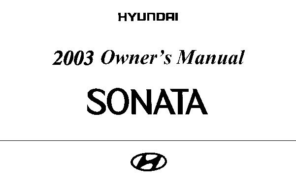 2003 Hyundai Sonata Owners Manual