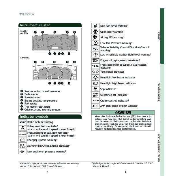 Bestseller: 2007 Toyota Corolla Owners Manual 2