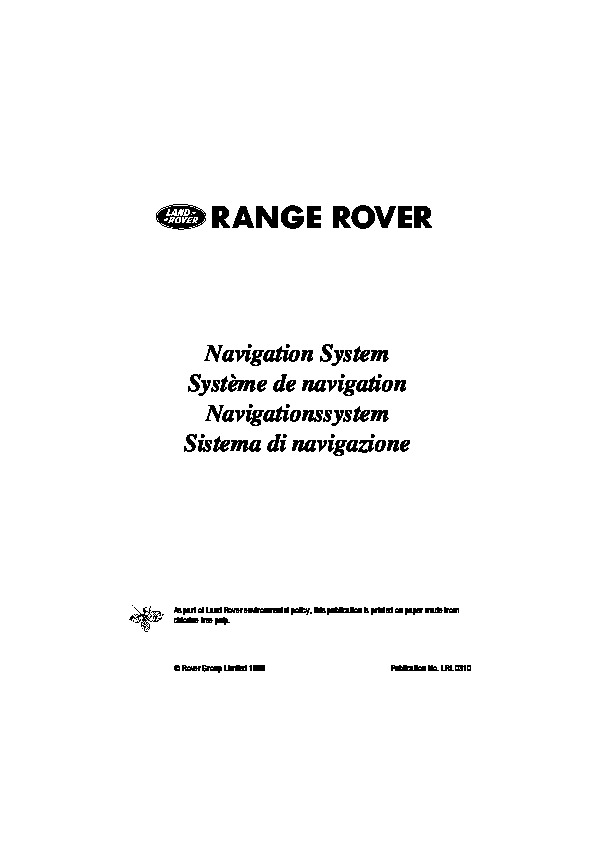 1999 Land Rover CARiN II Navigation System Manual