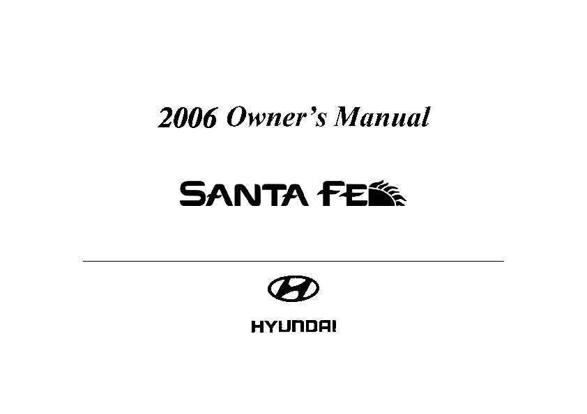 2006 Hyundai Santa Fe Owners Manual