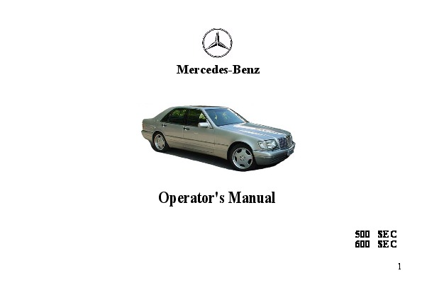 1993 Mercedes-Benz 500SEC 600SEC W140 Owners Manual