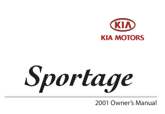 2001 Kia Sportage Owners Manual