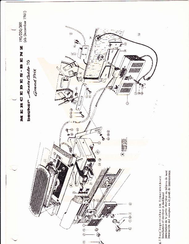 1961 Mercedes-Benz 190C 190DC 220B 220SB 220SEB 220SE
