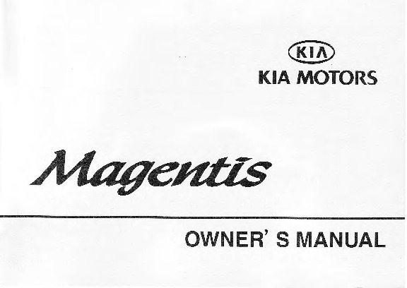 2001 Kia Magentis Owners Manual