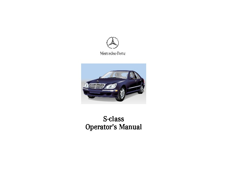 2000 Mercedes-Benz S430 S500 S600 S55 AMG W220 Owners Manual