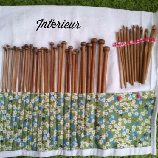 Pochette rangements aiguilles a tricoter et crochets