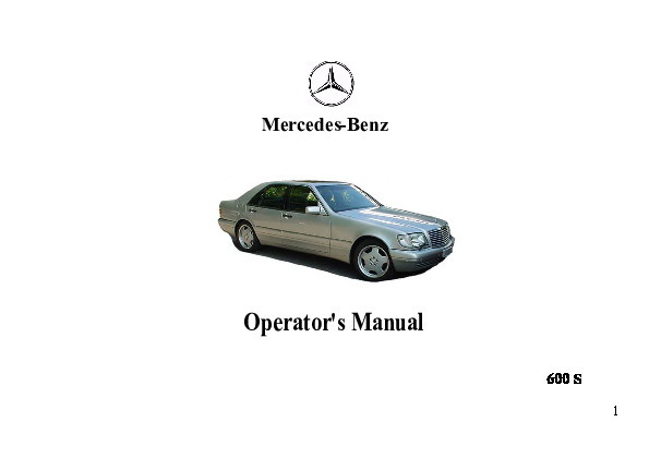 1995 Mercedes-Benz S600 W140 Owners Manual