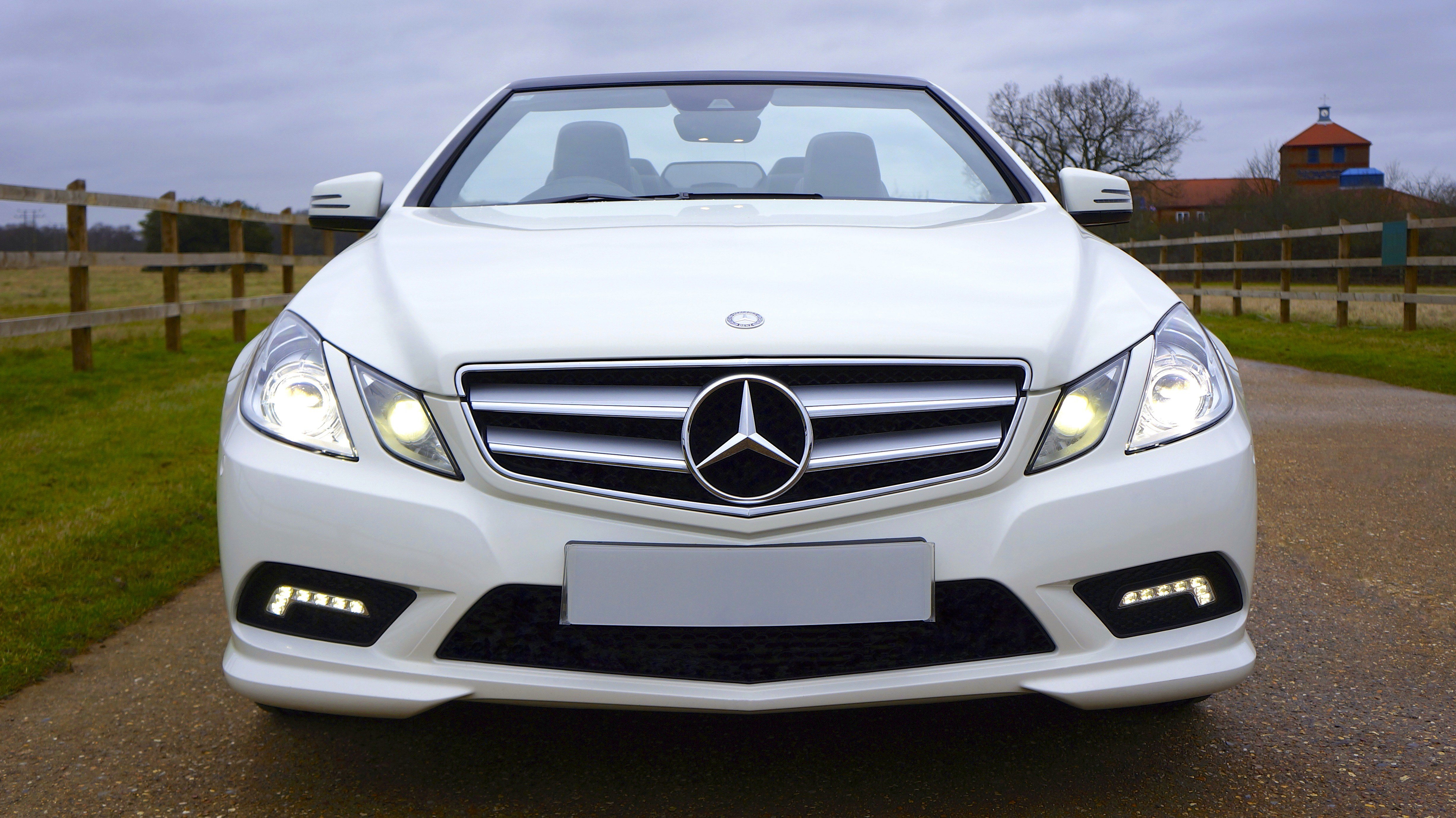 Latest White Mercedes Benz Car On White Snow Covered Ground At Free Download