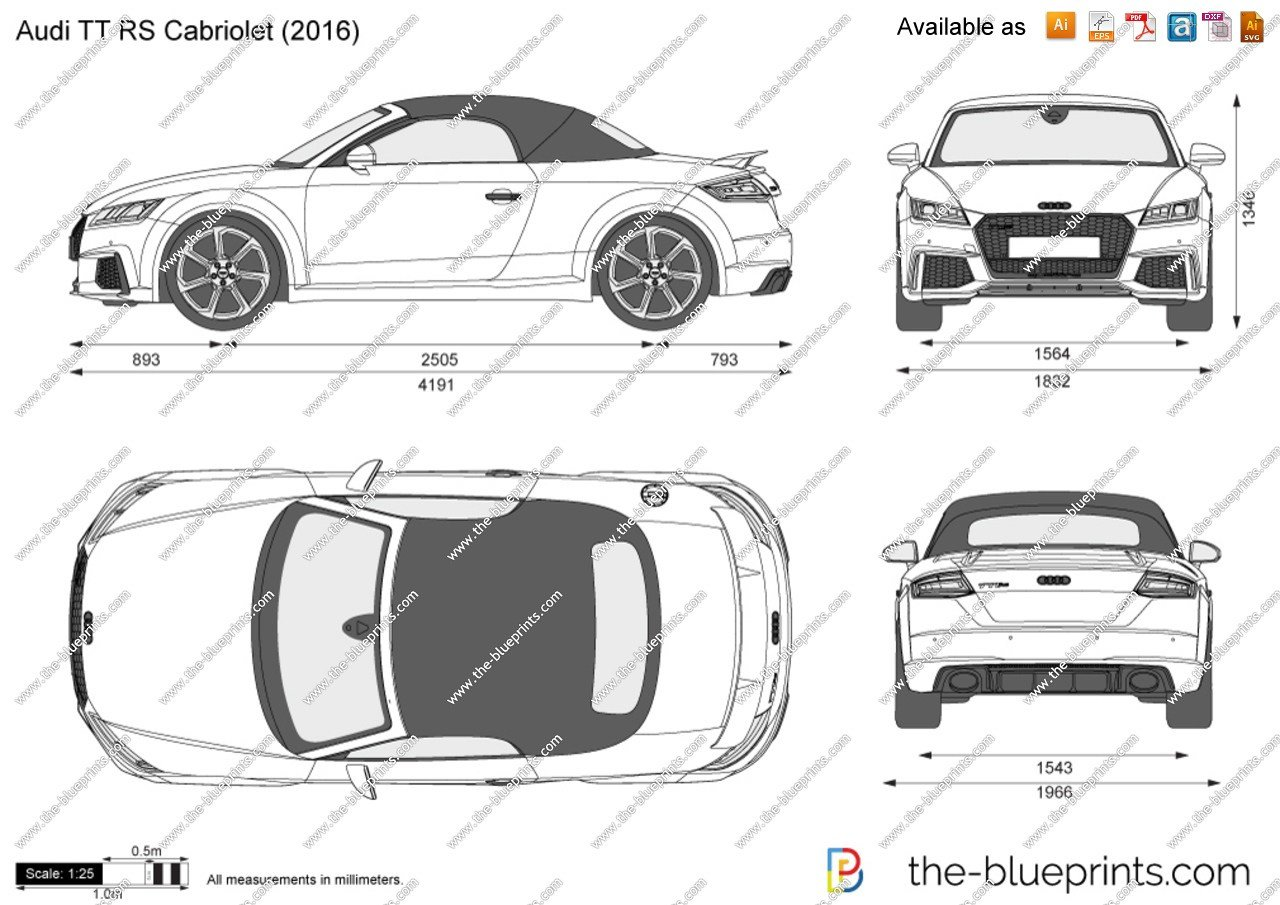 Latest Audi Tt Rs Cabriolet Vector Drawing Free Download