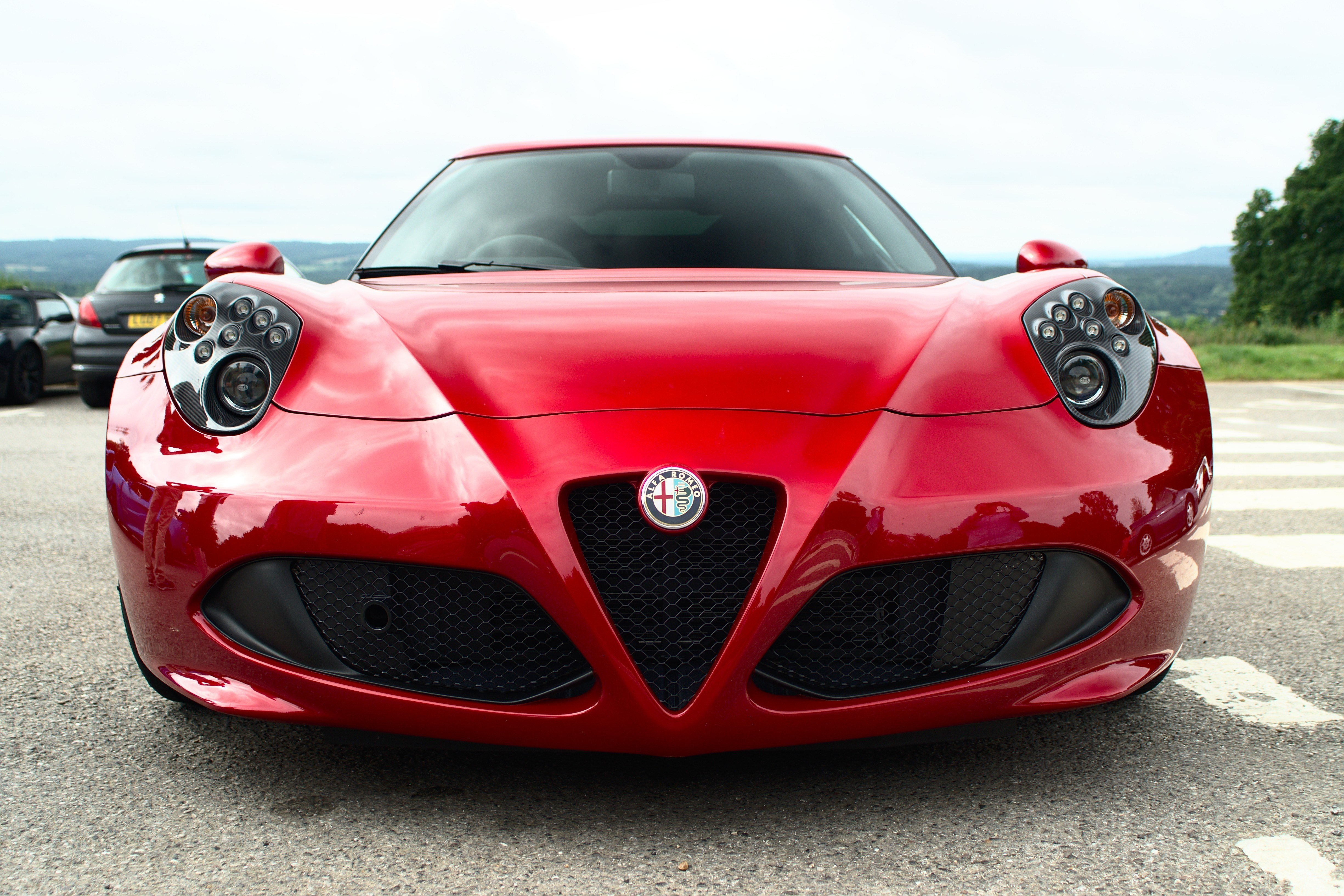 Latest Wallpaper Alfa Romeo Red Front View Sport Cars Free Download