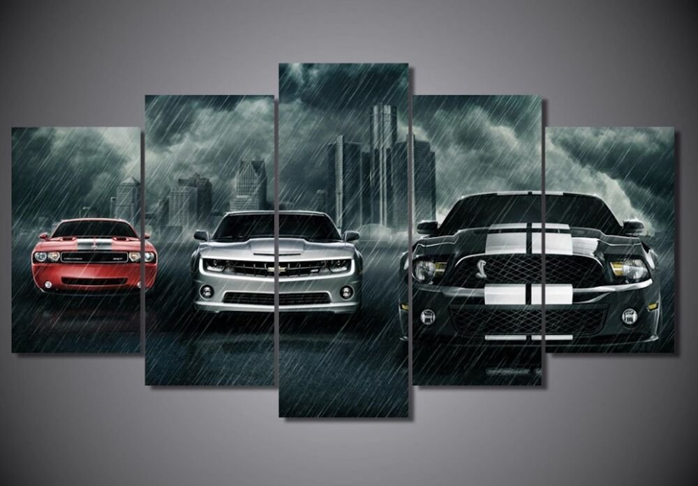 Latest Framed Picture Black And White Muscle Car Mustang Abstract Free Download