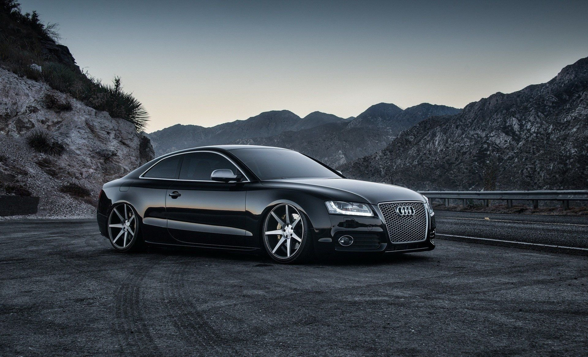 Latest Sports Car Gray Background Black Night Road Audi Mountain Free Download