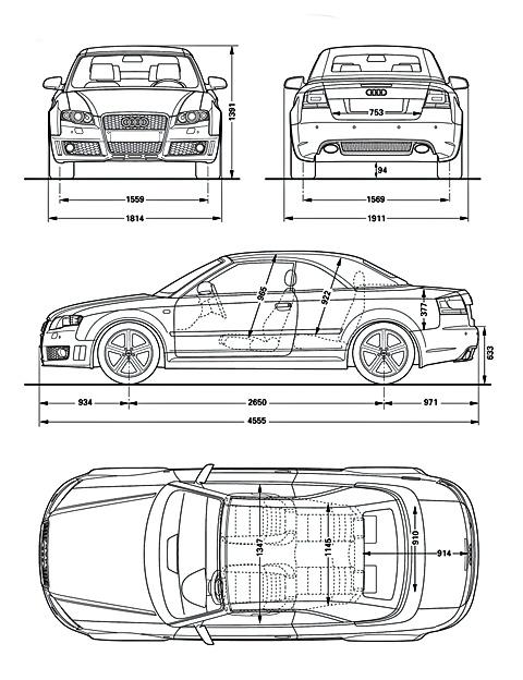 자동차 Audi RS4 Cabriolet : 인물의 이미지를 축소판 그림 이미지를 차에 schematize