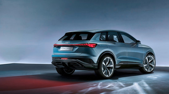 Audi q4 e tron all electric SUV side and rear view
