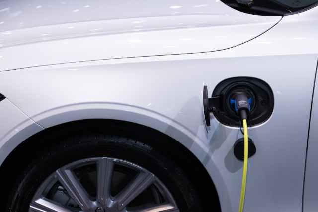 white car charging