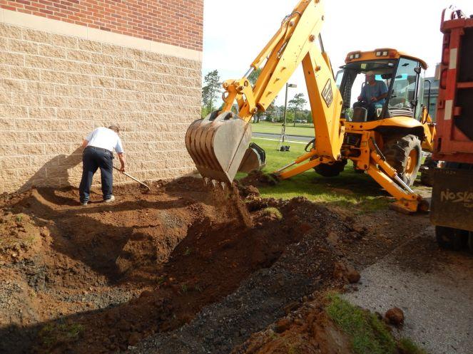 Excavation for below ground brine tank