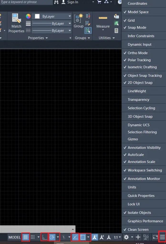 Status bar setting AutoCAD