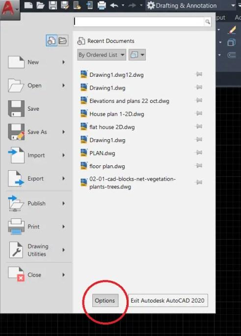 Appliation menu AutoCAD