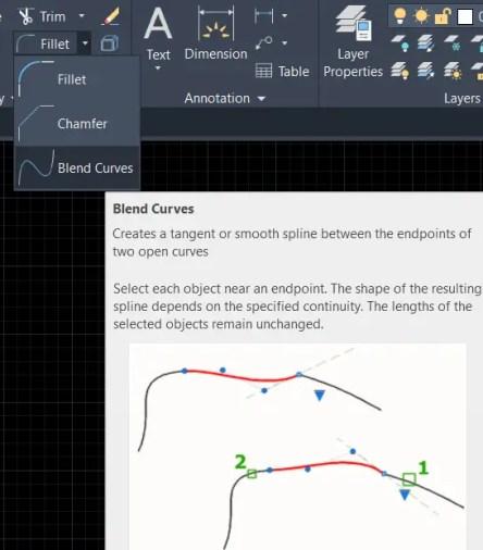 Blend curve Autocad