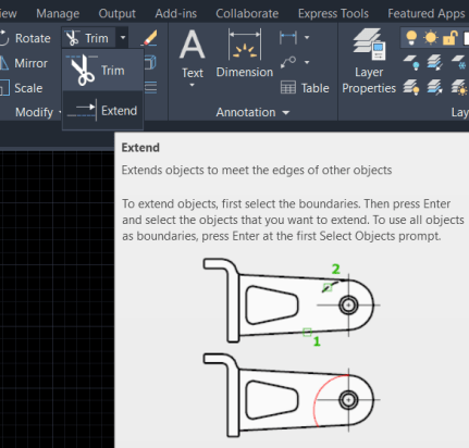 Extend command in Autocad