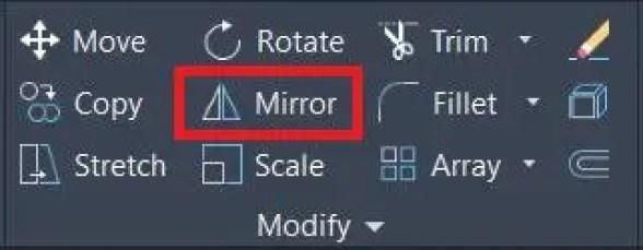 Mirror symbol in Autocad Modify panel